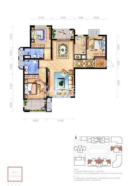 惠风壹品A户型3室2厅2卫1厨建筑面积约123.47平米