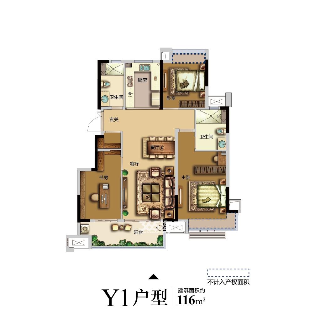 金科博翠天辰三室两厅两卫Y1户型116㎡户型图