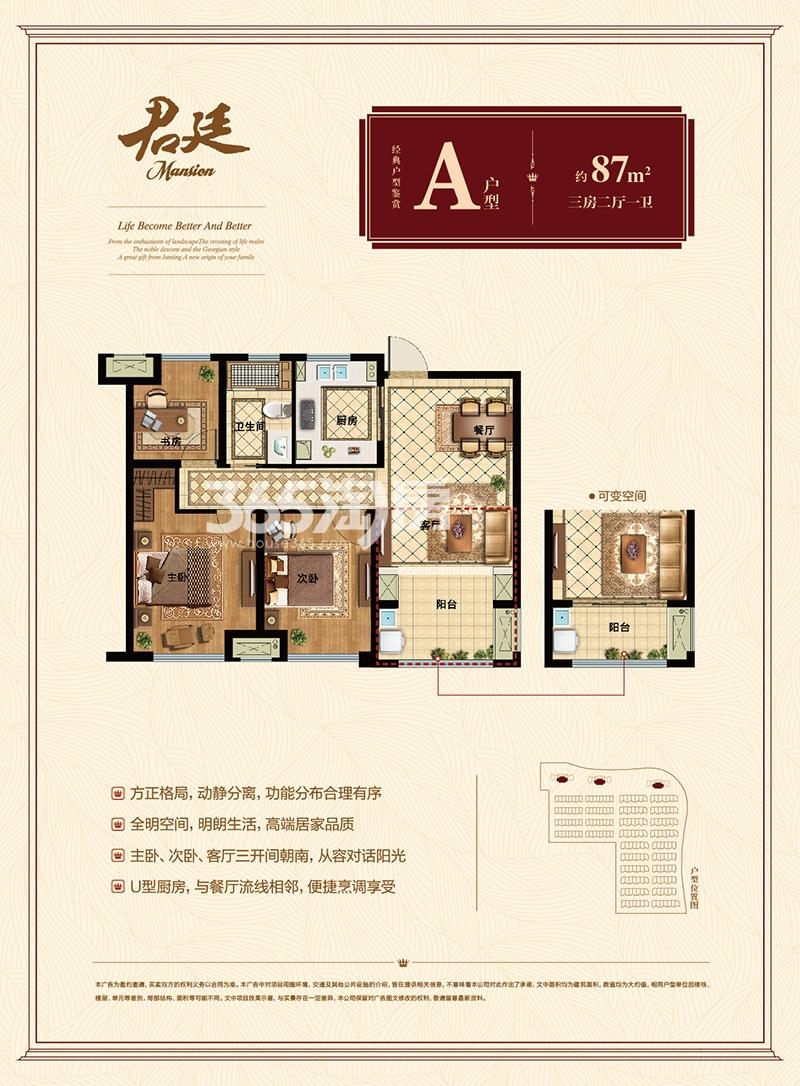 九龙仓君廷二期高层1-3号楼87方户型图