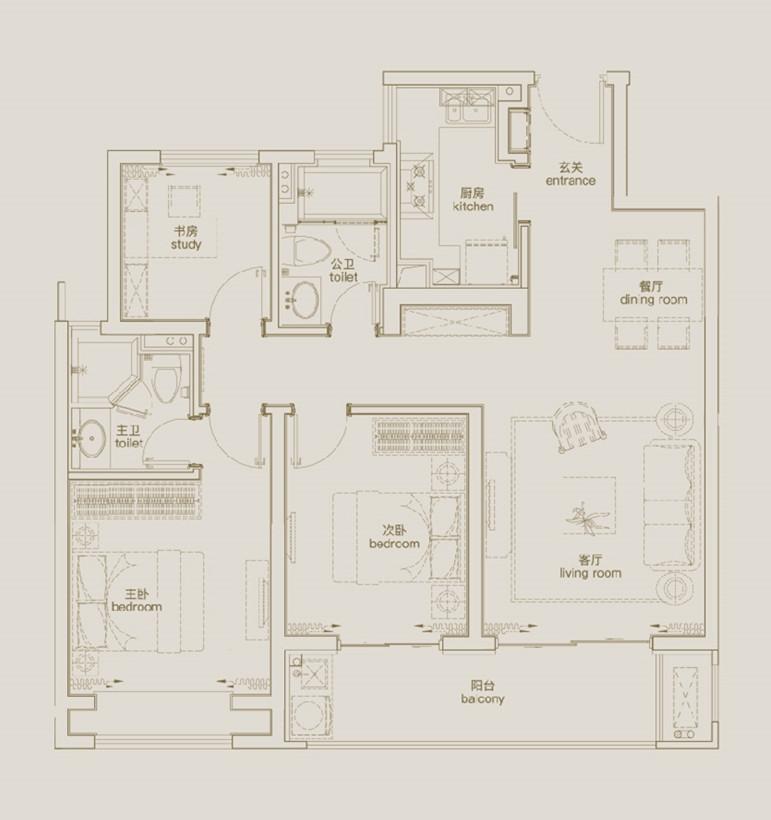 天傲105㎡三室两厅两卫