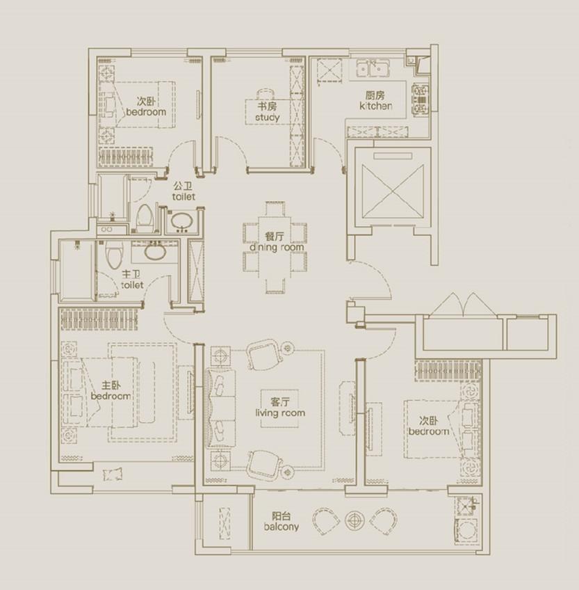 天凌135㎡四室两厅两卫