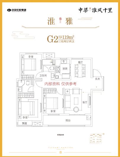 中梁淮风十里 G2户型三室两厅两卫 建面约119㎡